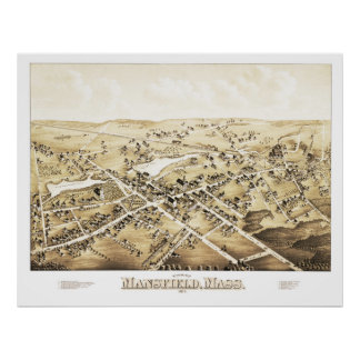 Map of Mansfield, Massachusetts from 1879 Poster