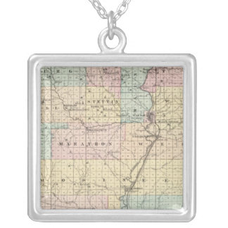 Map of Marathon County Silver Plated Necklace