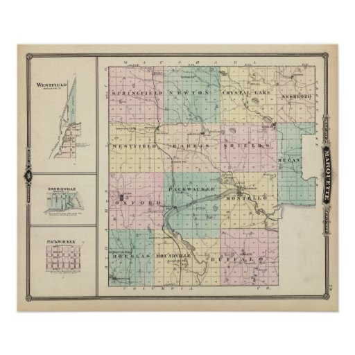 Map of Marquette County & Westfield Poster