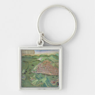 Map of Marseilles, from 'Civitates Orbis Terrarum' Silver-Colored Square Keychain