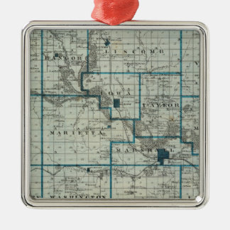 Map of Marshall County, State of Iowa Square Metal Christmas Ornament