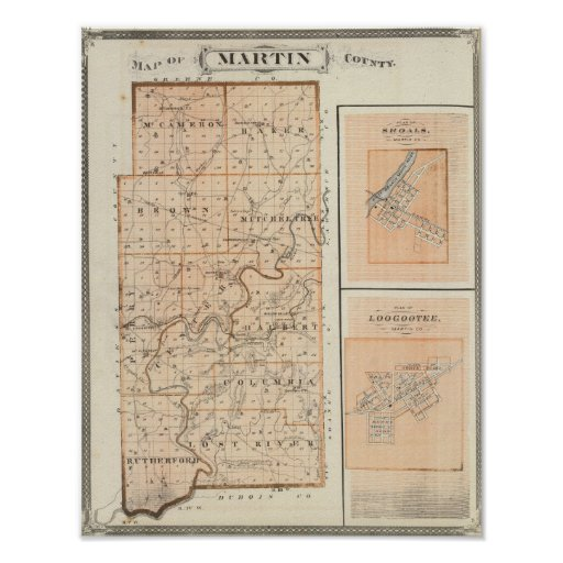 Map of Martin County with Shoals, Loogootee Poster
