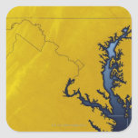 Map of Maryland 4 Square Sticker