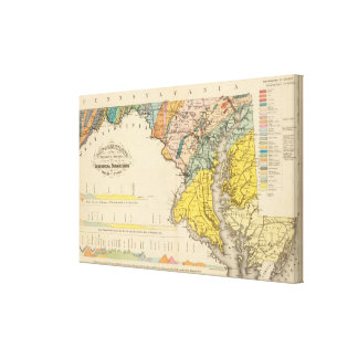 Map of Maryland and the District of Columbia Canvas Prints