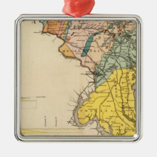 Map of Maryland and the District of Columbia Metal Ornament