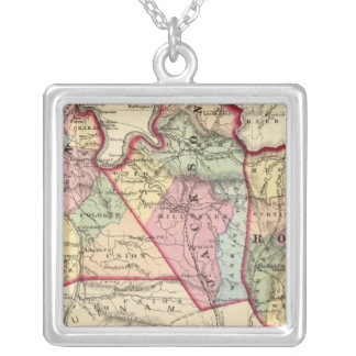 Map of Mason, Jackson, Roane counties Silver Plated Necklace