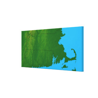 Map of Massachusetts 2 Stretched Canvas Print
