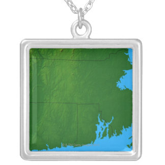 Map of Massachusetts 2 Silver Plated Necklace