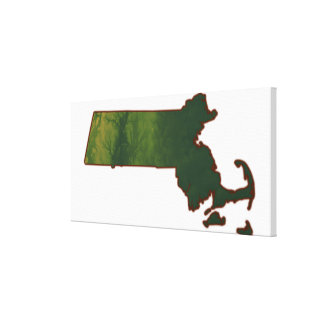 Map of Massachusetts 3 Stretched Canvas Prints