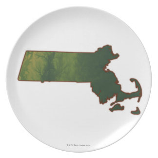 Map of Massachusetts 3 Party Plate