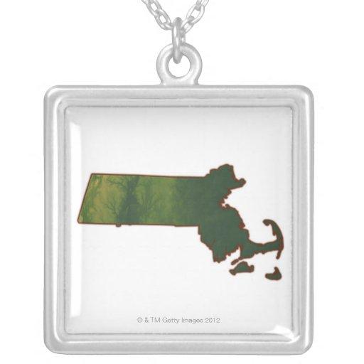 Map of Massachusetts 3 Square Pendant Necklace