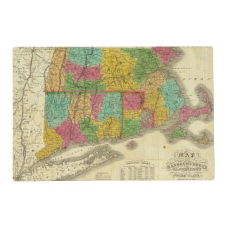 Map of Massachusetts and Connecticut Placemat