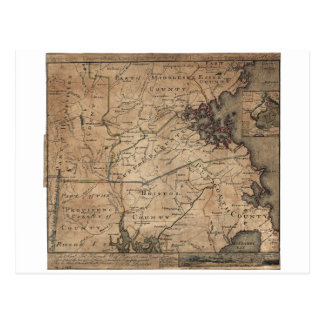 Map of Massachusetts by Bernard Romans (1775) Postcard