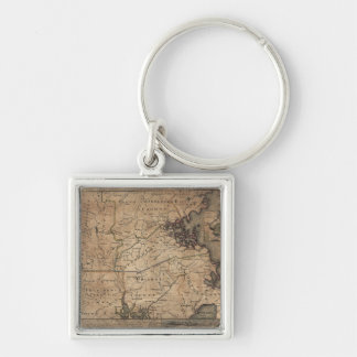 Map of Massachusetts by Bernard Romans (1775) Silver-Colored Square Keychain