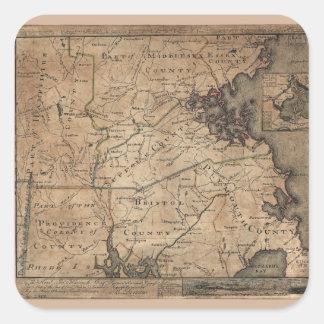 Map of Massachusetts by Bernard Romans (1775) Square Sticker