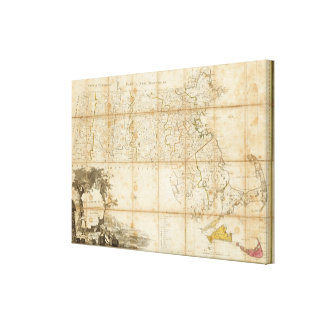 Map Of Massachusetts Gallery Wrap Canvas