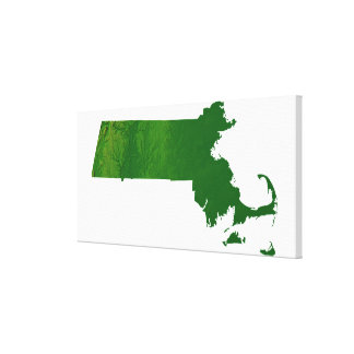 Map of Massachusetts Stretched Canvas Print