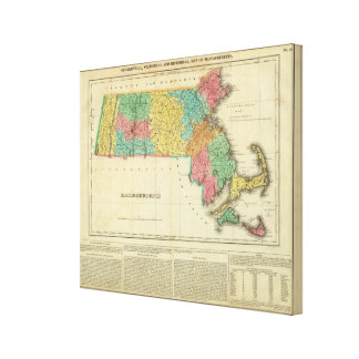 Map Of Massachusetts Gallery Wrapped Canvas
