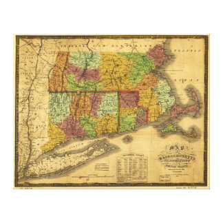 Map of Massachusetts Connecticut and Rhode Island Canvas Print