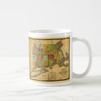 Map of Massachusetts Connecticut and Rhode Island Coffee Mug