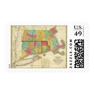 Map of Massachusetts Connecticut And Rhode Island Postage