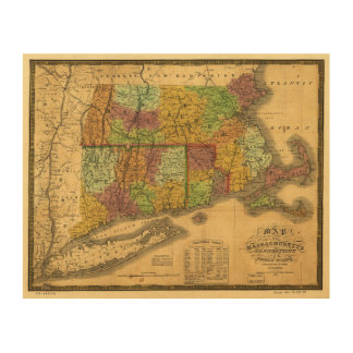 Map of Massachusetts Connecticut and Rhode Island Wood Wall Art