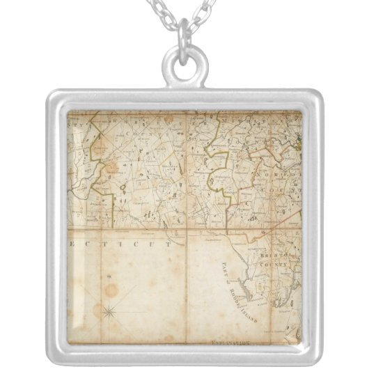 Map Of Massachusetts Silver Plated Necklace