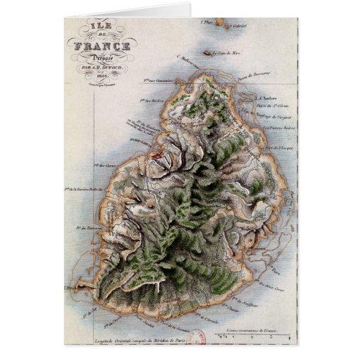 Map of Mauritius, illustration 'Paul et Virginie' Card