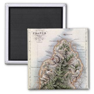 Map of Mauritius, illustration 'Paul et Virginie' Magnet