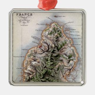 Map of Mauritius, illustration 'Paul et Virginie' Metal Ornament
