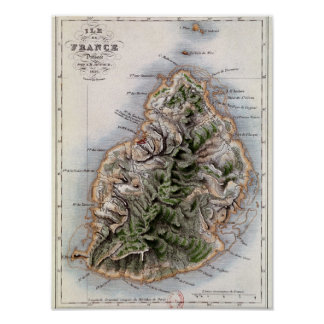 Map of Mauritius, illustration 'Paul et Virginie' Print