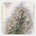 Map of Mauritius, illustration 'Paul et Virginie' Square Sticker
