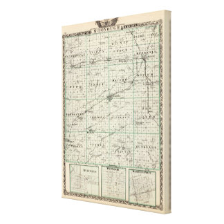 Map of McDonough County, Rushville Canvas Print