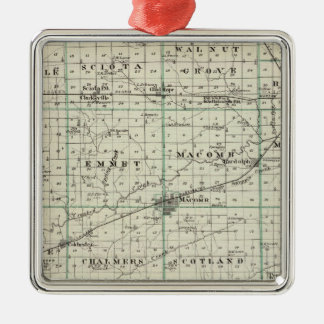 Map of McDonough County, Rushville Metal Ornament