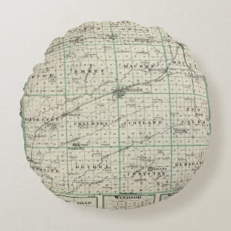Map of McDonough County, Rushville Round Pillow