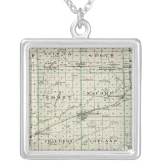 Map of McDonough County, Rushville Silver Plated Necklace