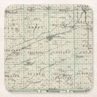 Map of McDonough County, Rushville Square Paper Coaster