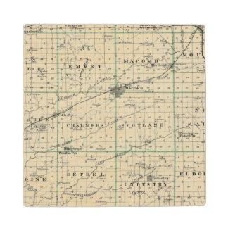 Map of McDonough County, Rushville Wood Coaster