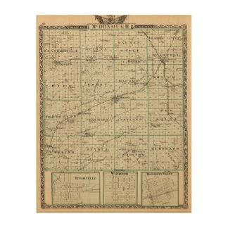 Map of McDonough County, Rushville Wood Print