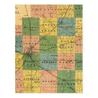 Map of McLean County, Illinois 1886 Postcard