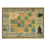 Map of McLean County, Illinois 1886 Poster