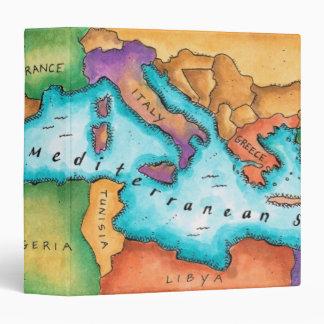 Map of Mediterranean Sea Vinyl Binders