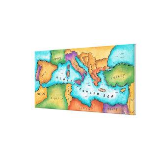 Map of Mediterranean Sea Canvas Print