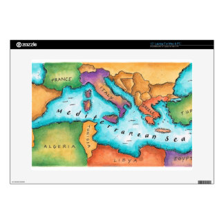 "Map of Mediterranean Sea Decals For 15"" Laptops"