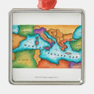 Map of Mediterranean Sea Metal Ornament