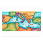 Map of Mediterranean Sea Post Cards