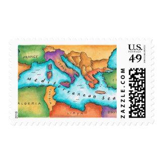 Map of Mediterranean Sea Postage