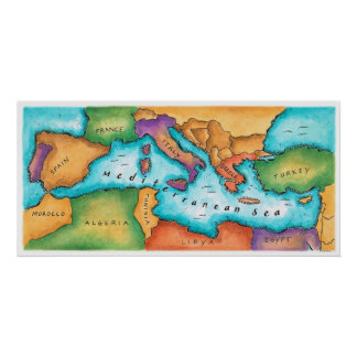 Map of Mediterranean Sea Poster