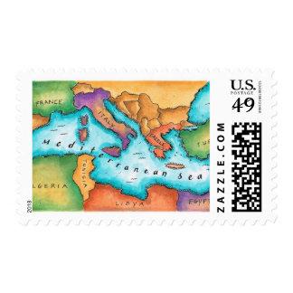 Map of Mediterranean Sea Stamp