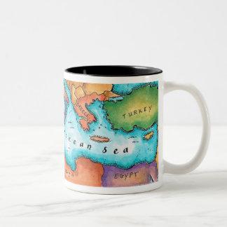Map of Mediterranean Sea Two-Tone Coffee Mug